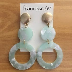 Francesca's Gold/Turquoise Lucite Drop Earrings